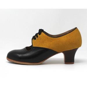 Carmela 37,5 A+PR Leather Negro Carrete 5 Visto Atrás Grabado Mostaza