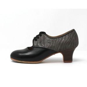 Carmela 37 A+PR Leather Negro Carrete 5 Visto Atrás Charlott Gris