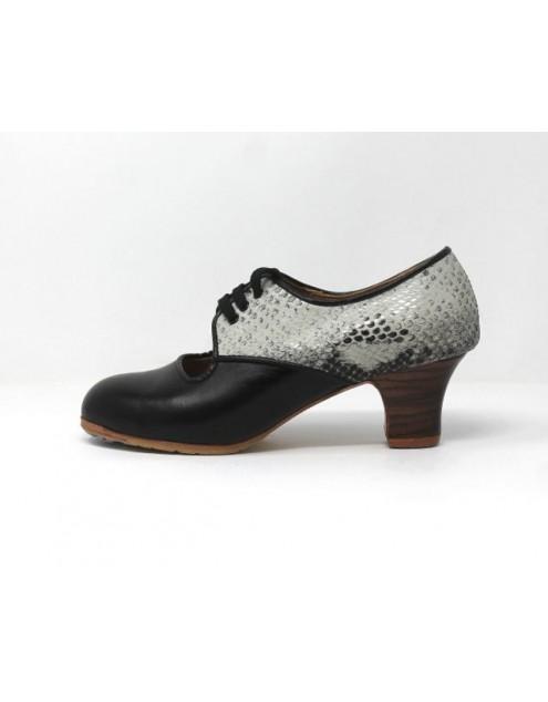 Carmela 37 A+PR Leather Negro Carrete 5 Visto Atrás Serpiente 37