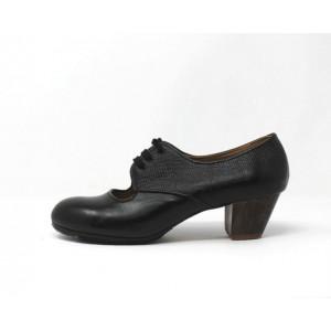 Carmela 40,5 AA+PR Leather Negro Cubano 5 Visto Atrás Serpiente Negro