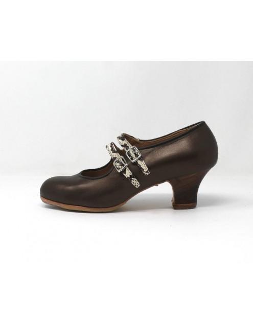 Manuela 35,5 A Pearlized Leather Plutón Carrete 5 Visto Correas Serpiente 11 R. Negro