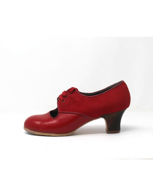 Carmela 37,5 A Leather Rojo Sangre Carrete 5 Visto Atrás Suede Rojo