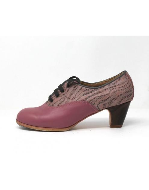 Chapín Mujer 37,5 AA+PR Leather Mora Clásico 5 Visto Atrás Charlott Rosa Viejo R. Gris