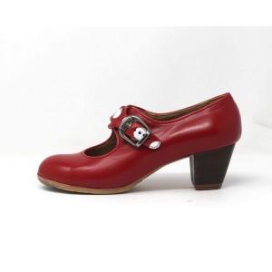 Lola 37,5 A+PR Leather Rojo Sangre Cubano 5 Visto Correas Lunares Blancos
