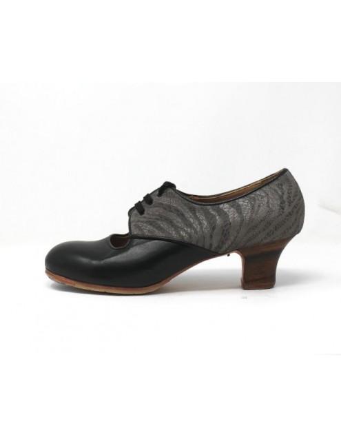 Carmela 40,5 AA+PR Leather Negro Carrete 5 Visto Atrás Charlot Gris