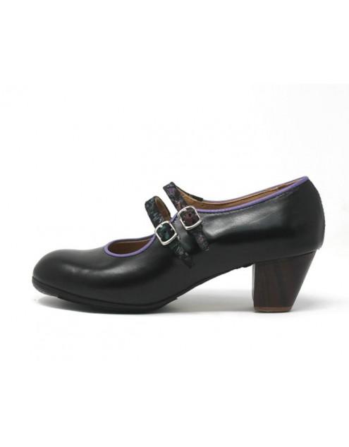 Manuela 38,5 AA+PR Leather Negro Cubano 5 Visto Correas Negro Primavera R. Orquidea