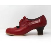Carmela 37 A+PR Leather Rojo Sangre Carrete 5 Visto Atrás Coco Rojo
