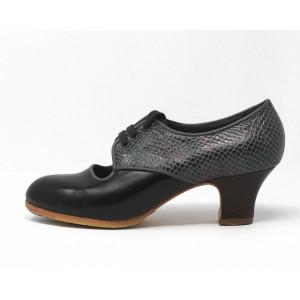 Carmela 38 A Leather Negro Carrete 5 Visto Atrás Serpiente 15