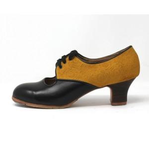 Carmela 39,5 A+PR Leather Negro Carrete 5 Visto Atrás Grabado Mostaza R. Negro