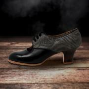 Carmela 37 AA+PR Leather Negro Carrete 5 Visto Atrás Charlott Gris