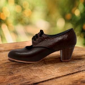 Carmela 38,5 A Leather Chocolate Cubano 5 Visto Atrás Avestruz Marrón