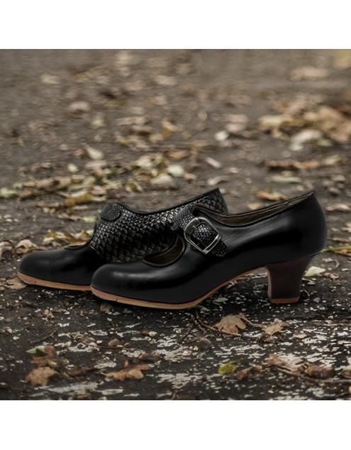 Lola 38 A Leather Negro Carrete 5 Visto Interior Y Correa Escamas Tornasol