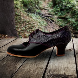 Carmela 40,5 A+PR Leather Negro Carrete 5 Visto Atrás Serpiente 25