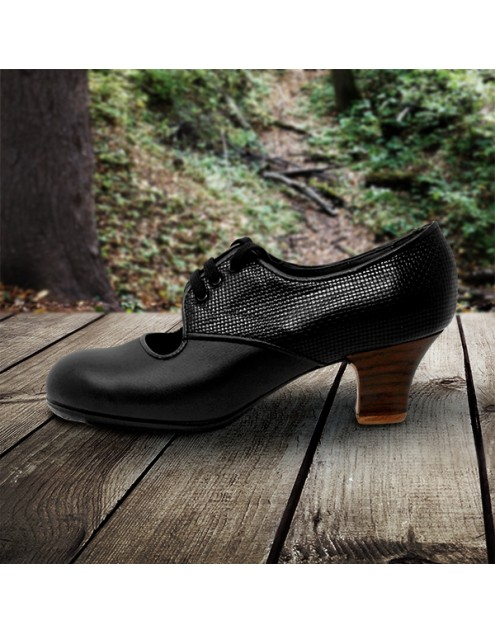 Carmela 38 A+PR Leather Negro Carrete 5 Visto Atrás Fantasía Negro