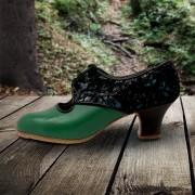 Carmela 37,5 A Leather Verde Oscuro Carrete 5 Visto Atrás Negro Primavera