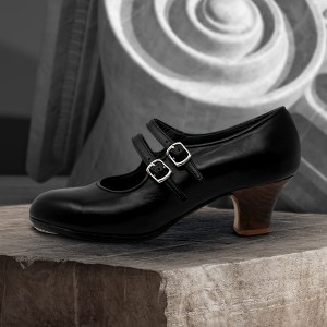 Manuela 36,5 AA Leather Negro Carrete 5 Visto