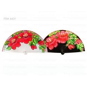 Abanico Madera Pintado Flor a Mano 23cm 6621