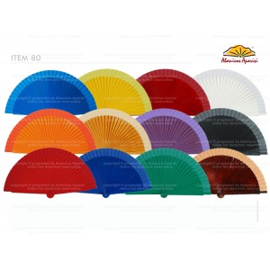 Abanico Madera Liso Colores 23cm 80